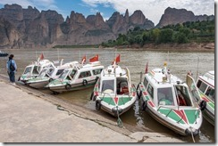 River boats all lined up