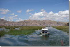 Heading out onto Lake Titicaca, past the reed beds
