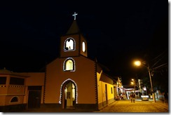 Even the church is illuminated at night