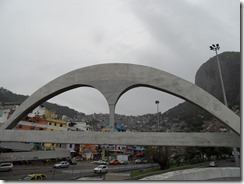 Footbridge in the shape of the logo for Rio's Carnival