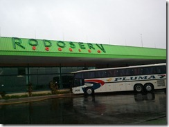 Bus at the service station - come back Happy (Cherwell) Valley services on the M40