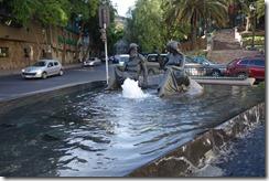 Statues and fountain outside Parque Cerro Santa Lucia