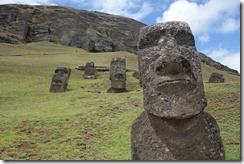 The hillside covered with half-buried moai