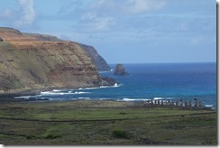 Coastline with Ahu Tongariki in the background