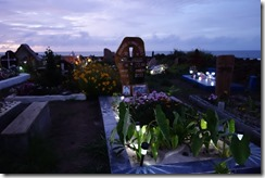 Hanga Roa cemetary at dusk - all lit up