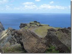 Orongo village on the cliff edge