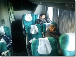 Some of us can sleep anywhere - even early morning on the night bus.