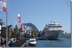 Big cruise ship and Harbour bridge