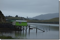 Boathouse on the bay in the Otago Peninsula