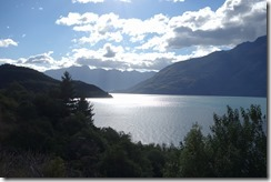 Looking back over Lake Wakatipu to The Remarkables (Misty Mountains)