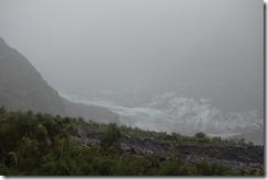 Fox Glacier through the mist and rain