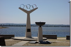 Olympic rings and rowing lanes
