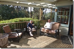 Graham and Chris relaxing on the deck