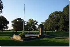 Flagstaff memorial and people exercising in Victoria Park