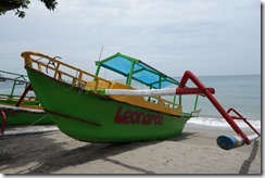Outrigger fishing boat on Senggigi beach