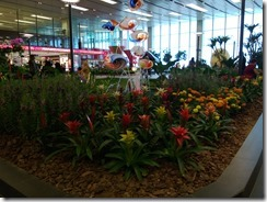 Flowers and fountain in Changi Airport