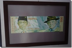 Big replica stamp of the Sultan and Lord Baden Powell