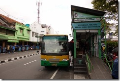 TransJogja bus at the stop