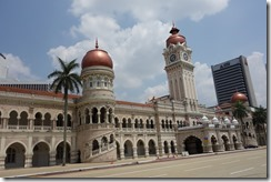 Clocktower and copper domes of the Sultan Abdul Samad Building