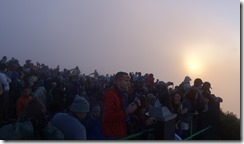 The crowds waiting for sunrise