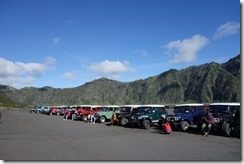 All the jeeps lined up