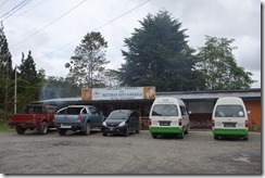 Minibuses at lunch stop