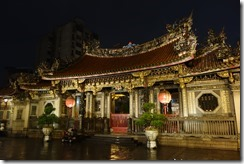 Longshan temple at night and in the rain