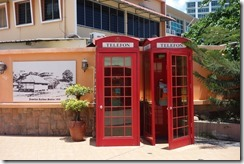 I suppose they would have had the originals at one point. Fake red phone boxes on the pier at Jesselton Point