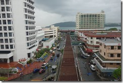 Looking out at downtown KK from our hotel