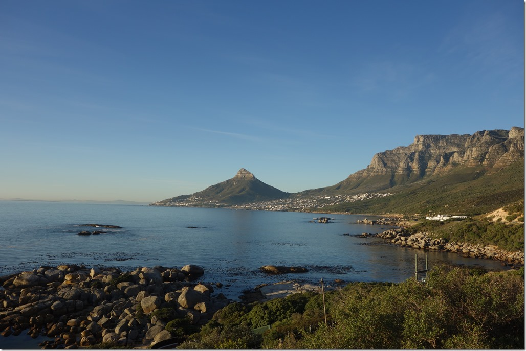 Looking out across Hout Bay to Cape Town and Table Mountain