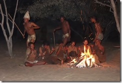 San Bushmen around the campfire