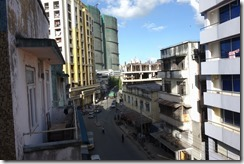Looking out at the streets of Dar from our hotel balcony