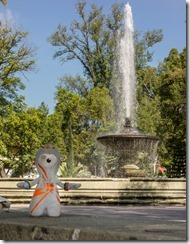 Olly at the fountain