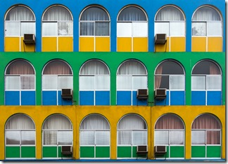 Coloured buildings in town