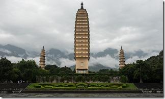 Three pagodas and grey skies