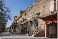 Our first sight of the Mogao caves complex