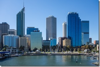 Looking back at modern Perth - the view from the quay
