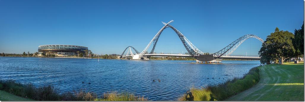 Swans across the Swan River - the Matagarup Bridge