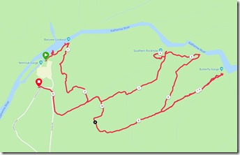 The route we actually walked - with the miles marked