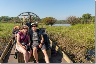 On the airboat and ready to go
