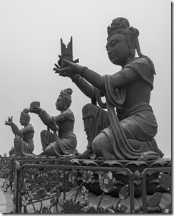Devas with offerings for the buddha
